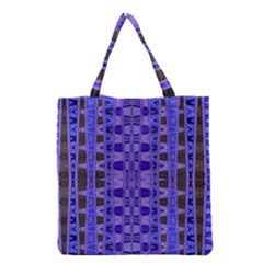 Blue Black Geometric Pattern Grocery Tote Bag