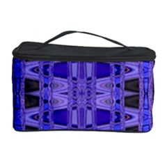 Blue Black Geometric Pattern Cosmetic Storage Cases by BrightVibesDesign