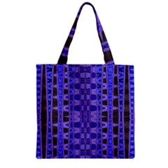 Blue Black Geometric Pattern Zipper Grocery Tote Bag