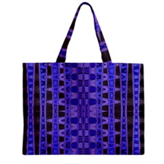 Blue Black Geometric Pattern Zipper Mini Tote Bag