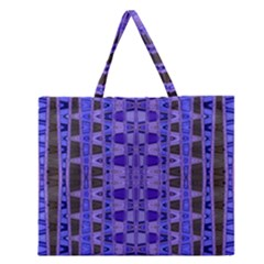 Blue Black Geometric Pattern Zipper Large Tote Bag