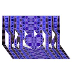 Blue Black Geometric Pattern MOM 3D Greeting Card (8x4)