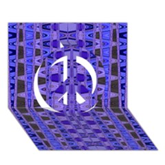 Blue Black Geometric Pattern Peace Sign 3D Greeting Card (7x5)