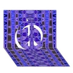 Blue Black Geometric Pattern Peace Sign 3d Greeting Card (7x5)