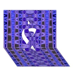 Blue Black Geometric Pattern Ribbon 3D Greeting Card (7x5)