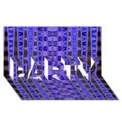 Blue Black Geometric Pattern Party 3d Greeting Card (8x4)