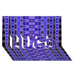 Blue Black Geometric Pattern HUGS 3D Greeting Card (8x4)