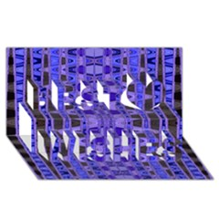 Blue Black Geometric Pattern Best Wish 3D Greeting Card (8x4)