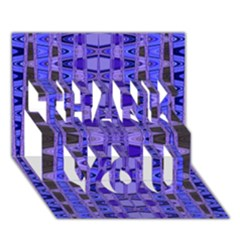 Blue Black Geometric Pattern THANK YOU 3D Greeting Card (7x5)