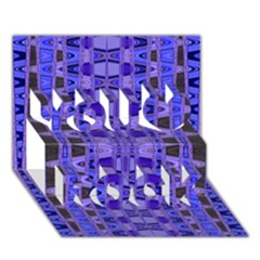 Blue Black Geometric Pattern You Rock 3D Greeting Card (7x5)
