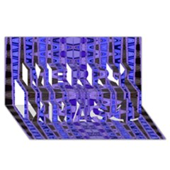 Blue Black Geometric Pattern Merry Xmas 3D Greeting Card (8x4)