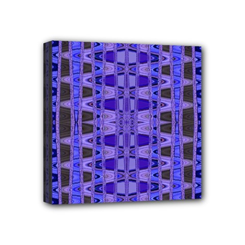 Blue Black Geometric Pattern Mini Canvas 4  x 4