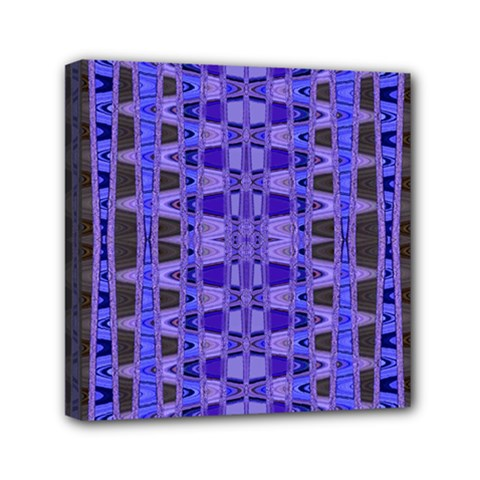 Blue Black Geometric Pattern Mini Canvas 6  x 6