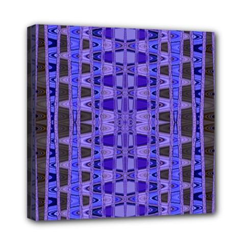 Blue Black Geometric Pattern Mini Canvas 8  x 8