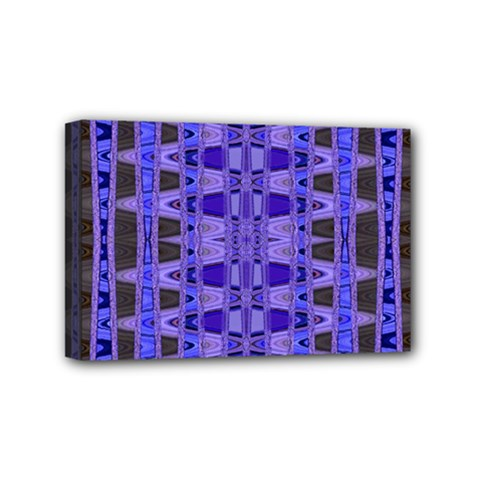 Blue Black Geometric Pattern Mini Canvas 6  x 4