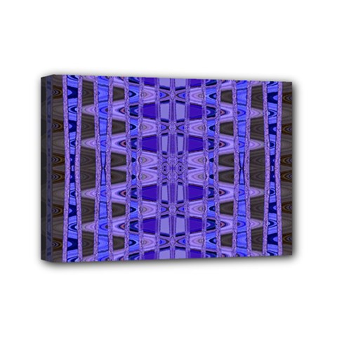 Blue Black Geometric Pattern Mini Canvas 7  x 5