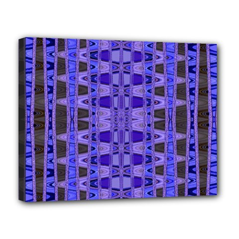 Blue Black Geometric Pattern Canvas 14  x 11