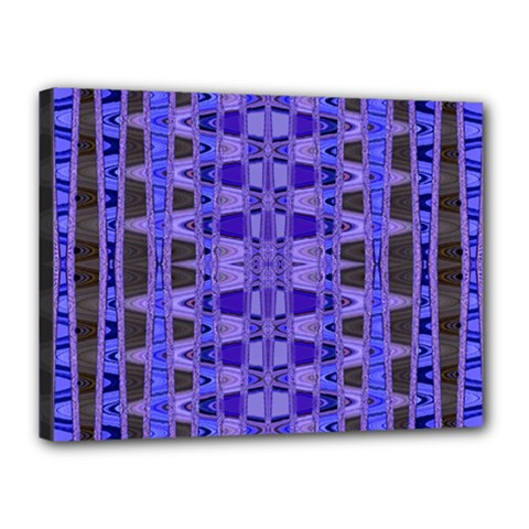 Blue Black Geometric Pattern Canvas 16  x 12