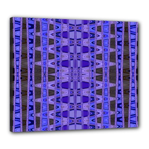 Blue Black Geometric Pattern Canvas 24  x 20