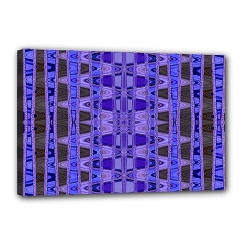 Blue Black Geometric Pattern Canvas 18  x 12