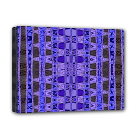 Blue Black Geometric Pattern Deluxe Canvas 16  x 12
