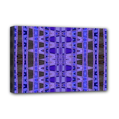 Blue Black Geometric Pattern Deluxe Canvas 18  x 12