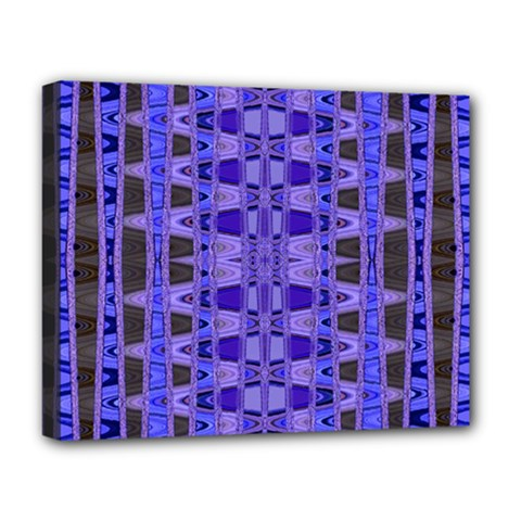 Blue Black Geometric Pattern Deluxe Canvas 20  x 16