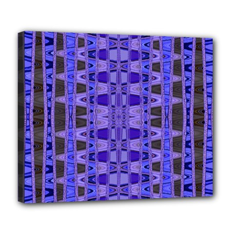 Blue Black Geometric Pattern Deluxe Canvas 24  x 20