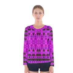 Bright Pink Black Geometric Pattern Women s Long Sleeve Tee by BrightVibesDesign