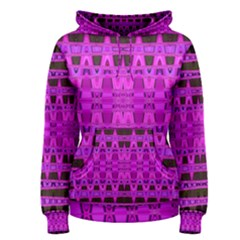Bright Pink Black Geometric Pattern Women s Pullover Hoodie