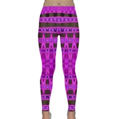 Bright Pink Black Geometric Pattern Yoga Leggings