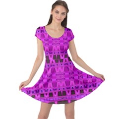 Bright Pink Black Geometric Pattern Cap Sleeve Dresses