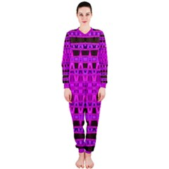 Bright Pink Black Geometric Pattern Onepiece Jumpsuit (ladies)