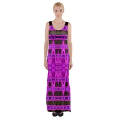 Bright Pink Black Geometric Pattern Maxi Thigh Split Dress by BrightVibesDesign