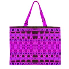 Bright Pink Black Geometric Pattern Zipper Large Tote Bag by BrightVibesDesign