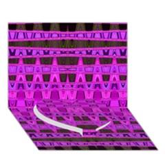 Bright Pink Black Geometric Pattern Heart Bottom 3d Greeting Card (7x5)