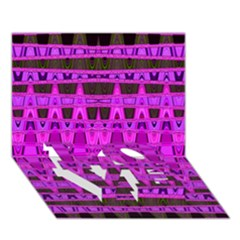 Bright Pink Black Geometric Pattern Love Bottom 3d Greeting Card (7x5)
