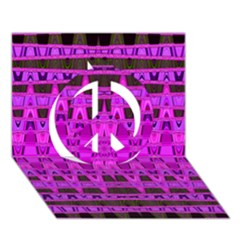Bright Pink Black Geometric Pattern Peace Sign 3d Greeting Card (7x5)  by BrightVibesDesign