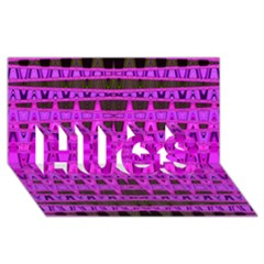 Bright Pink Black Geometric Pattern Hugs 3d Greeting Card (8x4)