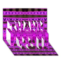Bright Pink Black Geometric Pattern Thank You 3d Greeting Card (7x5)  by BrightVibesDesign