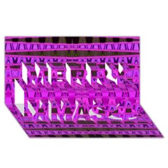 Bright Pink Black Geometric Pattern Merry Xmas 3d Greeting Card (8x4)