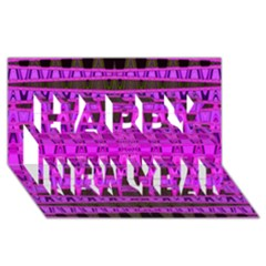 Bright Pink Black Geometric Pattern Happy New Year 3d Greeting Card (8x4)  by BrightVibesDesign