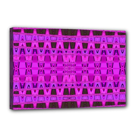 Bright Pink Black Geometric Pattern Canvas 18  X 12