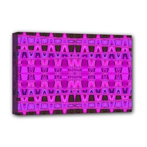 Bright Pink Black Geometric Pattern Deluxe Canvas 18  X 12   by BrightVibesDesign