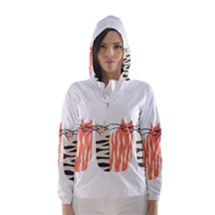 Two Lovely Cats   Hooded Wind Breaker (women)