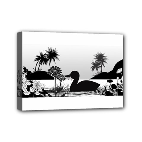 Duck Sihouette Romance Black & White Mini Canvas 7  X 5