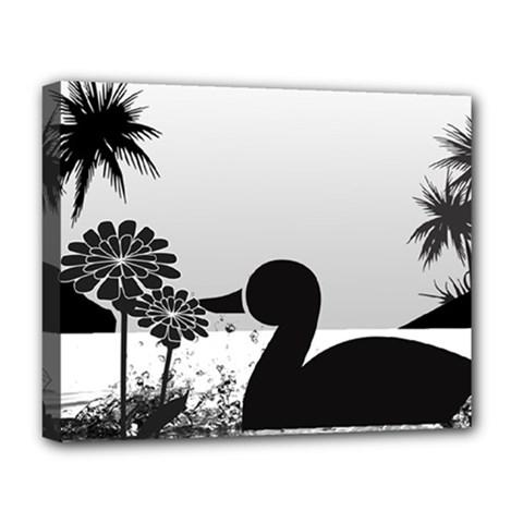 Duck Sihouette Romance Black & White Deluxe Canvas 20  X 16