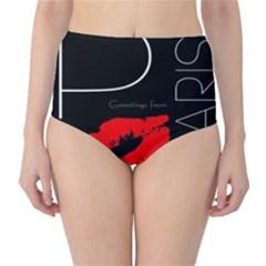 Greetings From Paris 1500 1500 Red Lipstick Kiss Black Postcard Design High Waist Bikini Bottoms by yoursparklingshop