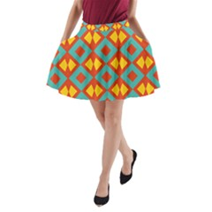 Blue Rhombus Pattern                A Line Pocket Skirt by LalyLauraFLM