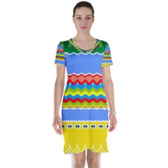 Colorful Chevrons And Waves                 Short Sleeve Nightdress by LalyLauraFLM